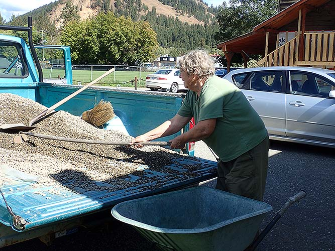 Postill Sand and Gravel donated pea gravel to landscape the walkthrough.